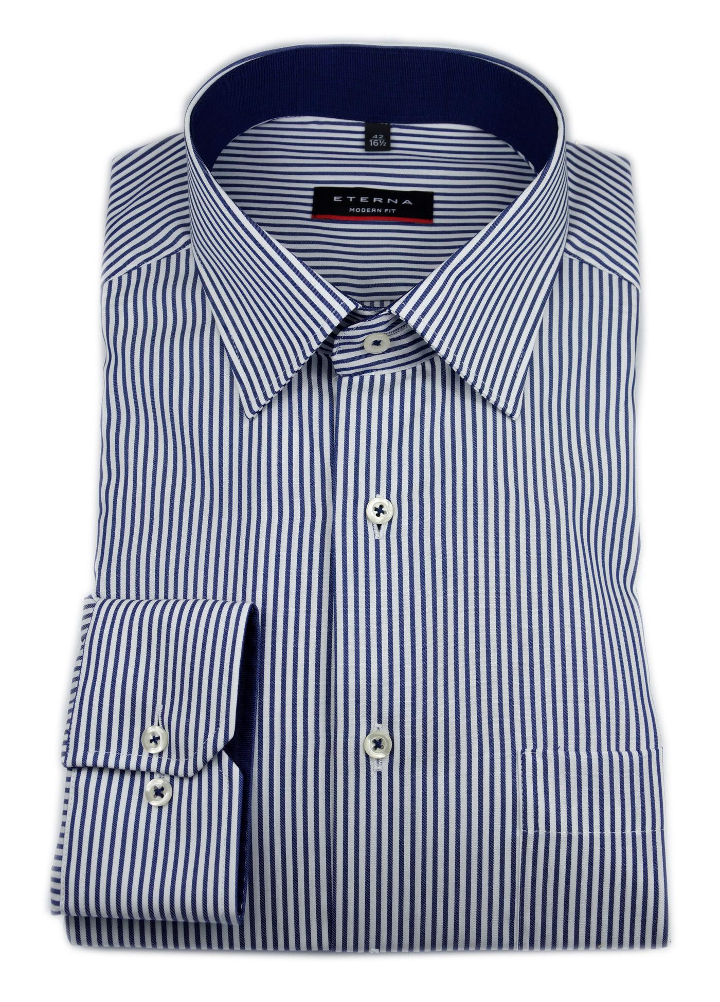 ETERNA-Langarm-Hemd-Modern-Fit-Twill-gestreift-blau-rot-lila-Patch-3151-X15P