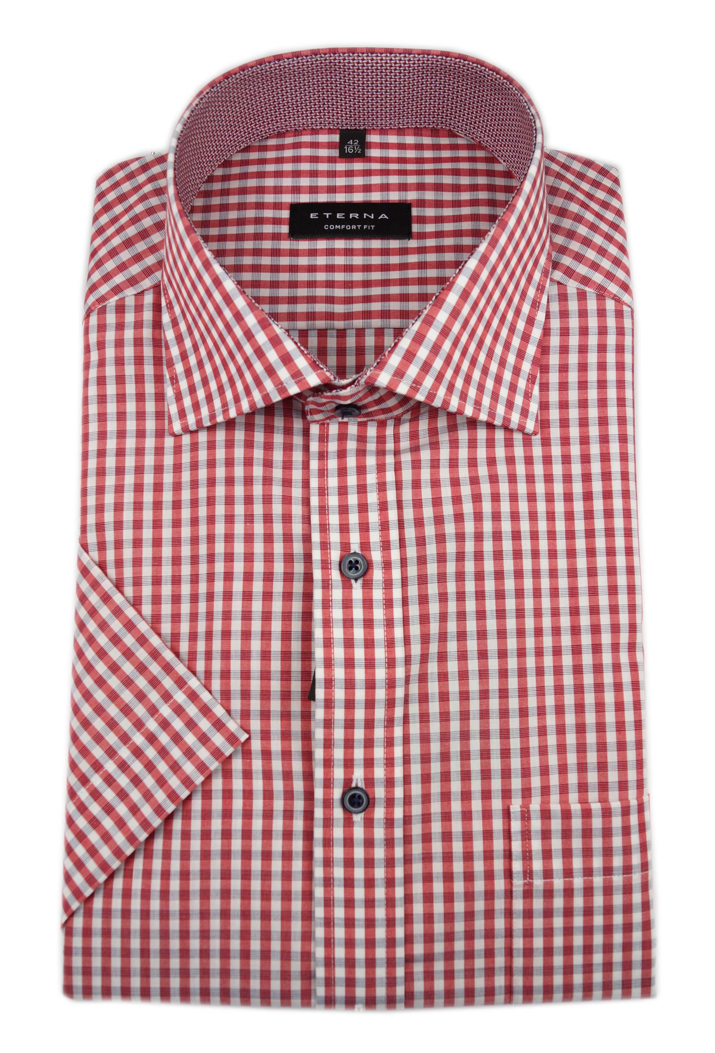 Aspirante Eterna Calzini Business Camicia Maniche Corte Comfort Fit Kent A Quadri Patch 3714.54.k147-