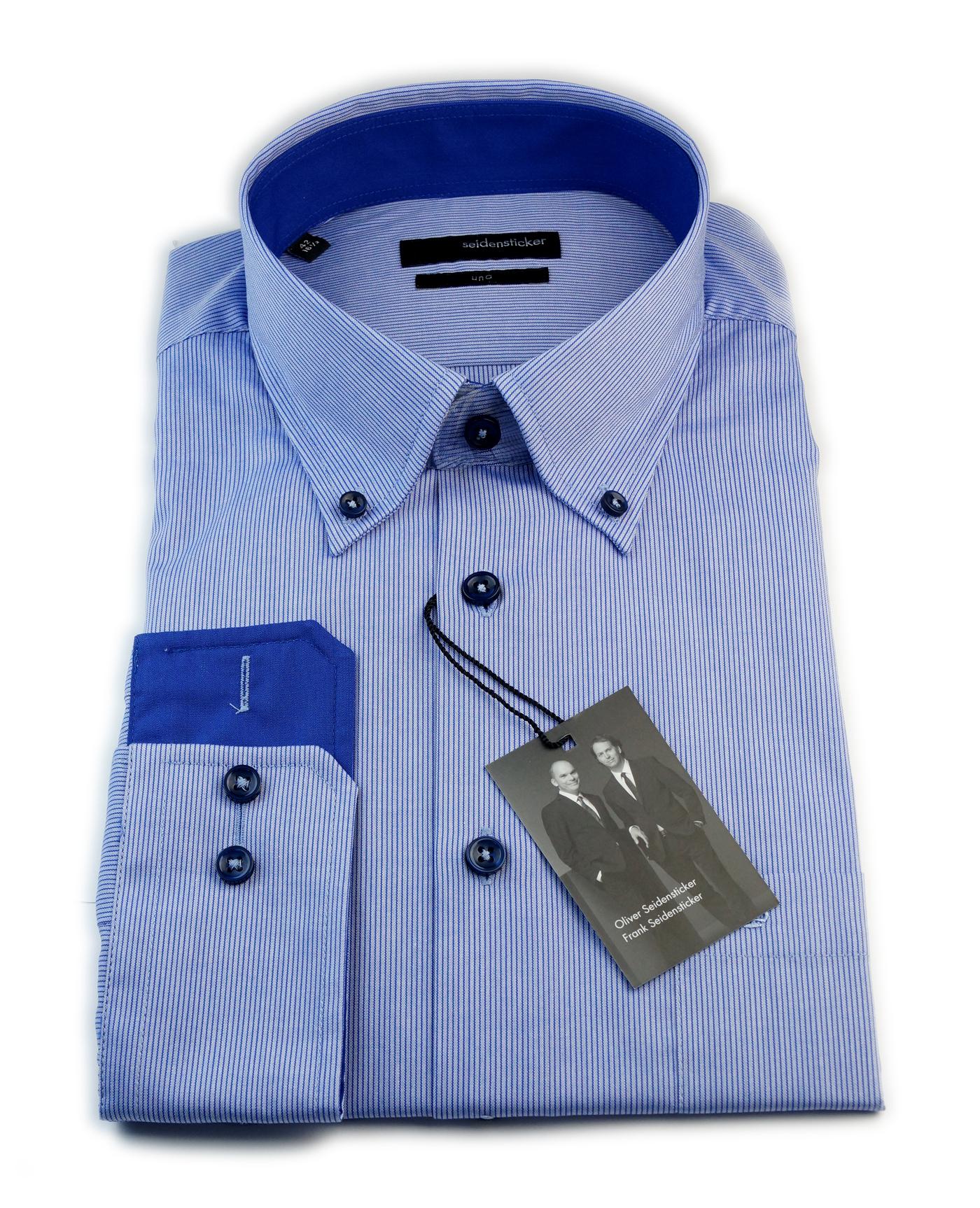 seidensticker hemd uno blau button down mit patch gr 40. Black Bedroom Furniture Sets. Home Design Ideas